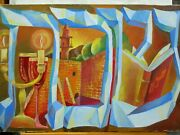 Fine Art Oil Painting Canvas Original Sabbath In Hebrew Candle Light And Wine Cup