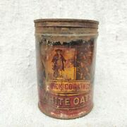 1930s Vintage Quaker Oats Rolled White Oats Rare Advertising Tin Round Holland