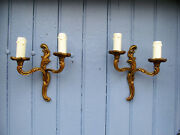 French Vintage King Louis Xv Style Bronze Brass Twin Arm Wall Lights C1950s