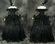 H-331 Black Victorian Gothic Lolita Rococo Cosplay Bridal Evening Gown Costume