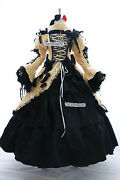A-188 Vocaloid Rin Cosplay Victorian Costume Goth Ball Evening Gown Yellow Black