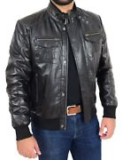 Mens Bomber Leather Jacket Soft Nappa Choice Of Colours Black Brown Cognac - Rob