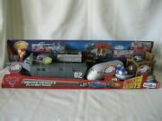 Rare 2010 New Disney Cars 2 Deluxe Vehicle And Playset Boat-train-battle Station