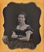 Gorgeous Very Wealthy Young Lady Pearl Necklace 1/6 Plate Daguerreotype F268