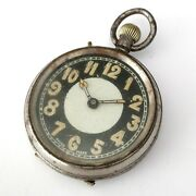 Ww1 British Army Pocket Watch Black Dial Military Vintage Fob Antique Wwi Trench