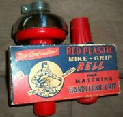 Rare Vintage 60s Nos Original Box Red Handlebar Bicycle Grips And Bell Collectible
