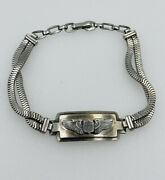 Antique Sterling Silver World War 2 Wwii Usa Sweetheart Military Wings Bracelet