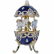 Carousel Horse Music Box With White Horses Figurines Wind Up Musical Blue