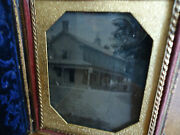 1/6 Tintype Of House/farmhouse/hotel/general Store In Full Ornate Case