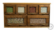 Vintage Six Drawer Country Store Seed And Bean Cabinet