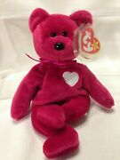 Valentina Bear With Errors And Pe Pellets 1998/ty Beanie Baby/original/tagged Ty And