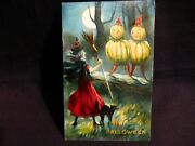 Rare- Vintage Halloween Postcard- Witch -black Cat And Veggie People-by Valentine