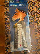 Bios Weather Hand Carved And Hand Painted Wood Horse Thermometer