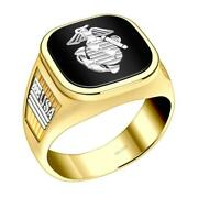 Us Jewels Menand039s 14k Yellow And White Gold Us Marine Corps Military Solid Back Ring