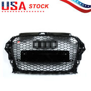 Rs3 Type Grille Front Hood Henycomb Bumper Grill For Audi A3 S3 2013-2016 Black