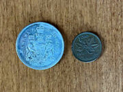 Lot Of 2 Canada Canadian 1966 50 Fifty Cents Coin Plus Penny 1 Cent Coins