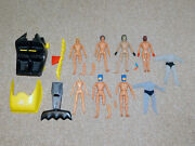 Damaged 1970s Mego 8 Wgsh Lot Of 7 Figures And Batcopter For Parts Or Repair