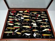 Framed Collection 44 Vintage Wood/plastic Fishing Lures In Walnut Case