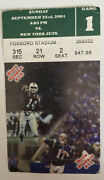 2001 New England Patriots Vs Jets Ticket Stub Brady First Game 1st Game Played