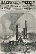 Lawrence Mass Ma Pemberton Mills Industrial Collapse Catastrophe 1860 Engraving