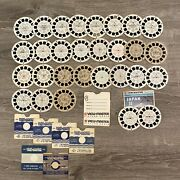 Lot Of 29 Viewmaster Reels Disney Snoopy Nature Travel Raggedy Ann Aristocats