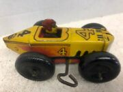Vintage Mar Toys Tin Wind Up Race Car 4 With Driver