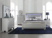 New Silver Led Light Queen Or King 5pc Bedroom Set Modern Furniture Bed/d/m/n/c