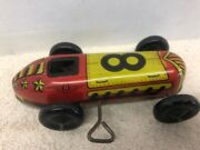 Vintage Lupor Metal Products Mechanical Tin Metal Wind-up Toy Race Car 8