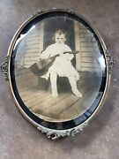Antique Gold Oval Bubble Glass Picture Frame