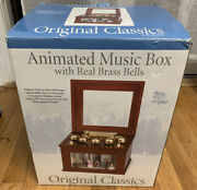 Mr Christmas Animated Concertina Gold Label Brass Bells Wood Music Box 50 Songs