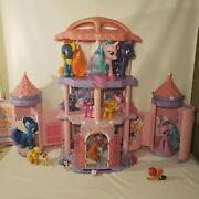 My Little Pony 2005 Pink Palace Crystal Rainbow Pop Up Castle Lot - 27 Ponies