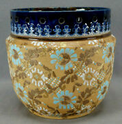 Doulton And Slater's Patent Turquoise And White Floral Cobalt Rimmed Jardiniere