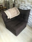 Mid Century Vintage Brown Woven Wool Occasional Chair With Natural Wood
