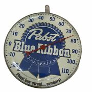 Vintage Rare 1950and039s Pabst Blue Ribbon Pbr Advertising Thermometer Sign Usa Made