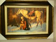 """""""prayer At Valley Forge"""" Arnold Friberg 17 X 27 And Framed"""