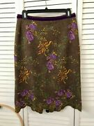 Etro Milano Wool Embroidered Skirt Size 42 Made In Italy