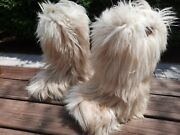 Open Country Goat Hair Knee Boot Womens Size 7.5 White Italy Made Yeti Boots