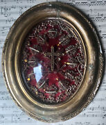 Rare Large Antique French Reliquary Seals 12 Relics Mary Magdalene Cecilia C1860