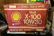 Vintage 1990's Shell X-100 Motor Oil 24-1 Litre Cans Cardboard Box - Shell Oil