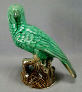 19th Century Staffordshire Majolica Green And Brown Parrot Macaw Bird Figurine