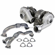 Stigan Compound Turbo Turbocharger W/ Gaskets And Up-pipes For Ford F250 F350 F450