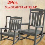 2pcs Patio Rocking Wooden Chairs Rocker For Outdoor Garden Lawn Furniture Gray