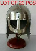 Viking Helmet Armor Sca Larp Medieval Silver Finish With Wooden Stand