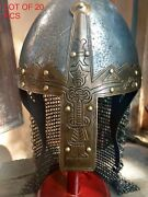 Medieval Viking Norman Nasal Helmet With Chain-mail Sca Larp Lot Of 20 Pcs