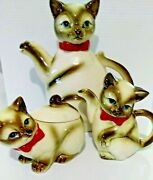 1950and039s Kasuga Ware Siamese Cat And Kittens Teapot Set Vintage