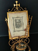Antique Veil Of Veronica Or Holy Face In Gilted Holy Water Font Dated 1901 Relic