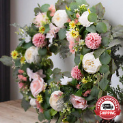 Wanna-cul 24 Inch Spring Artificial Peony Flower Wreath For Front Door For Mothe