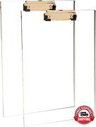 Clear Acrylic Clipboard With Gold Clip Set 2-pieces Fits 9x12 Inch - Letter Si