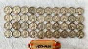 Silver Washington Quarters Roll 40. 14 Coins From 1953 And 26 Coins From 1954.
