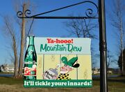 Old Style Mountain Dew Hillbilly Di-cut Soda Cola Steel 2 Side Sign Made In Usa